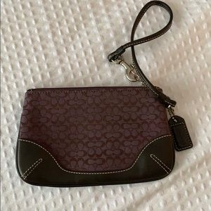 Coach purple and brown wristlet